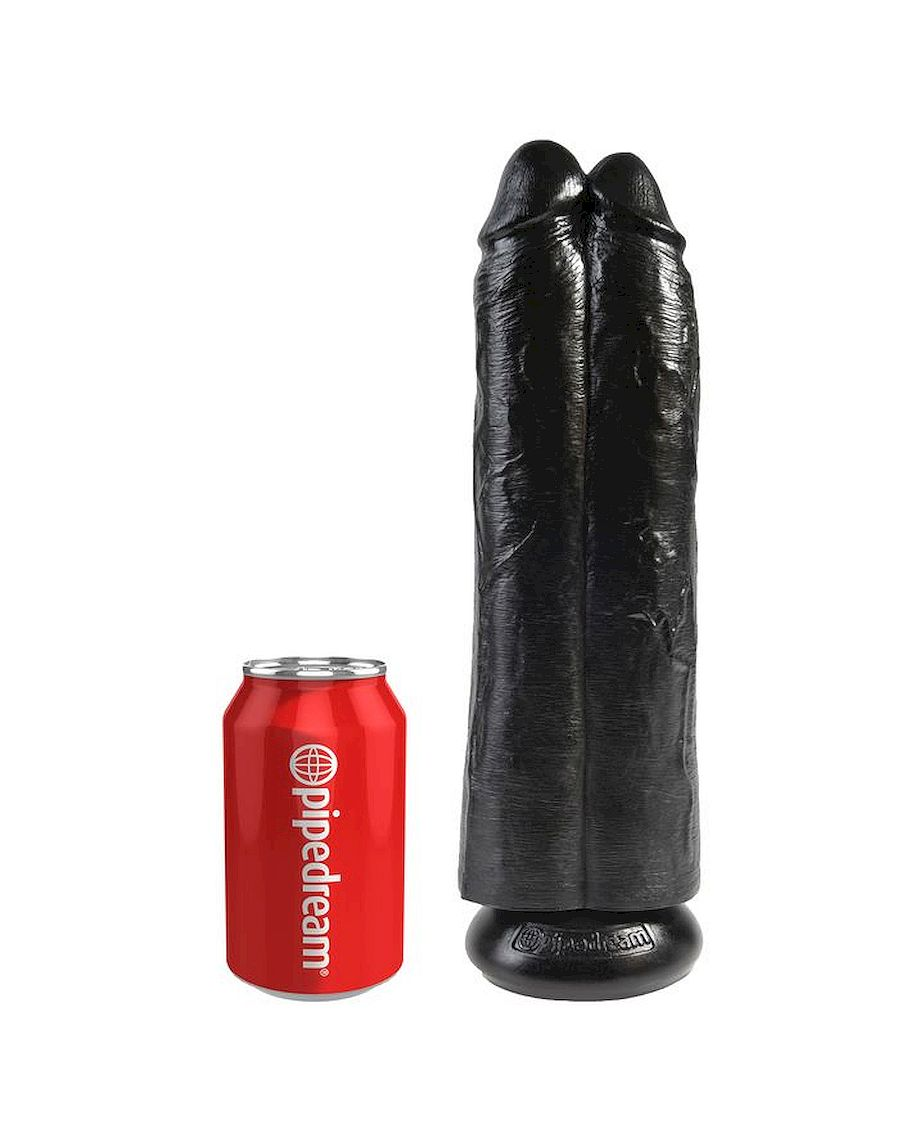 King Cock by Pipedream 11 Inch Two Cocks One Hole Hollow Strap-On Suspender System in Black