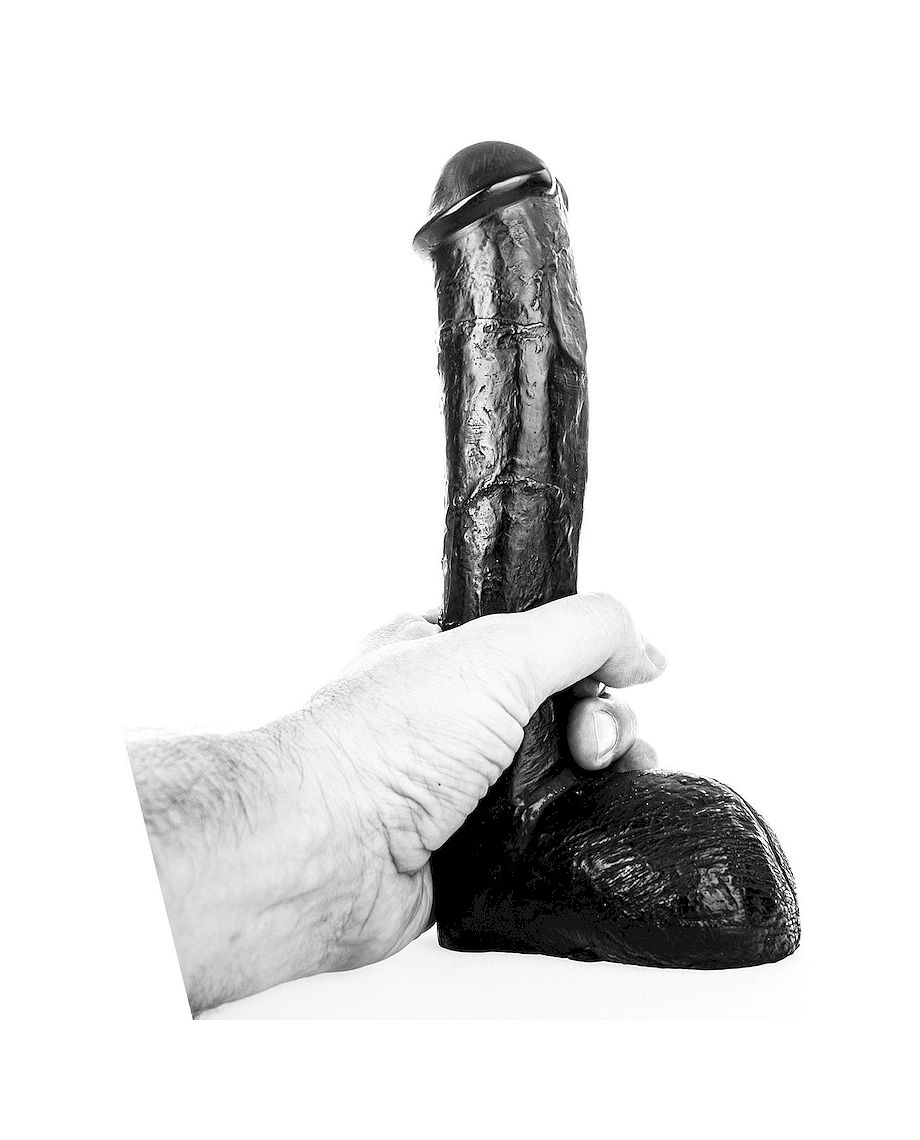 All Black 23cm Realistic Dong Black
