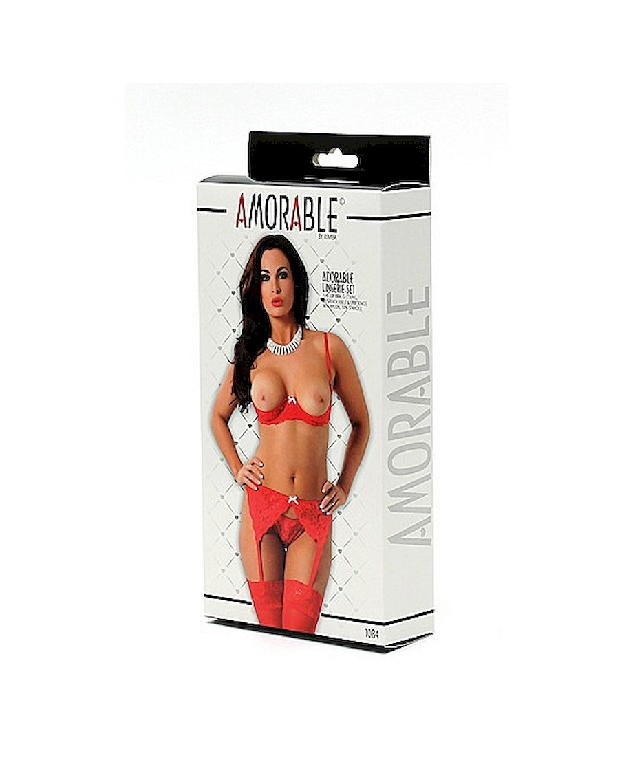 Amorable 5 Pieces Set with Open Bra Red