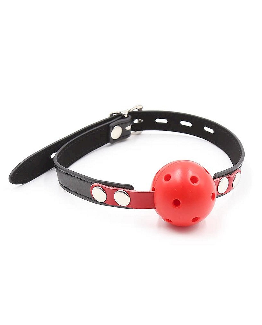 Fetish Addict Ball Gag Breathable Black Red