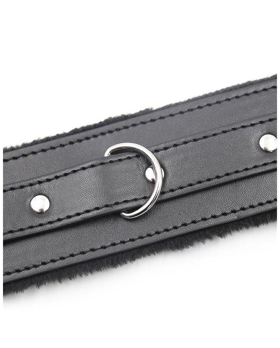 Fetish Addict Collar With Metal Leash Black