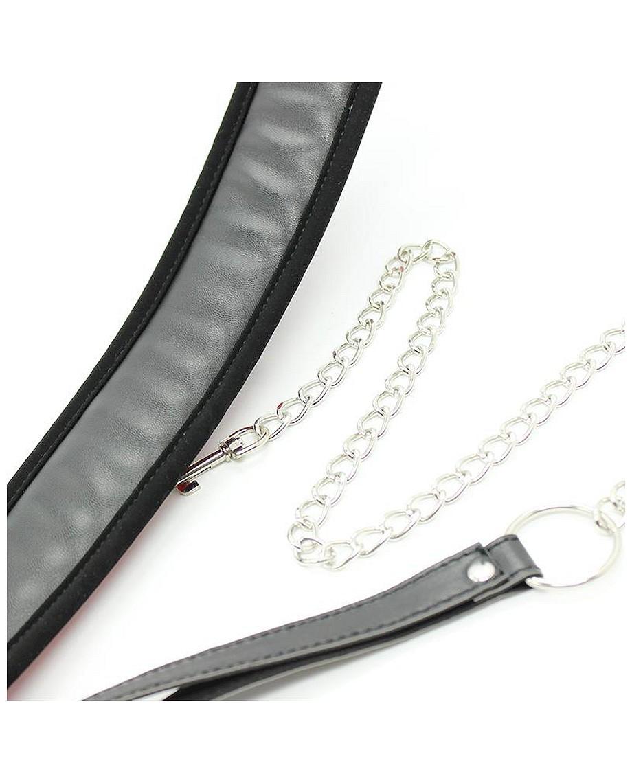 Fetish Addict Collar with Metal Leash and Pedded Interior Black