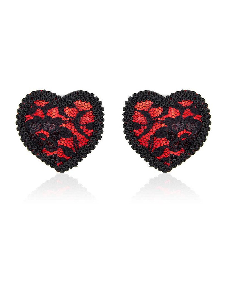 Fetish Addict Nipple Covers with Lace Black Red
