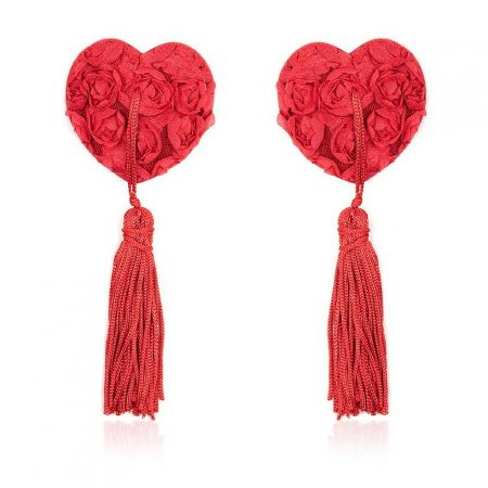 Fetish Addict Rose Heart Nipple Covers Red
