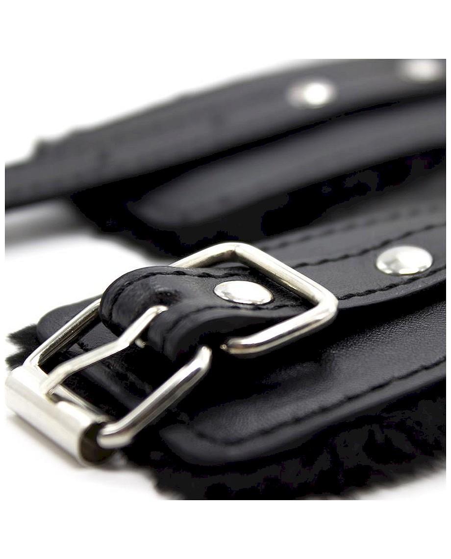 Fur Lined Adjustable Handcuffs 30 cm Black
