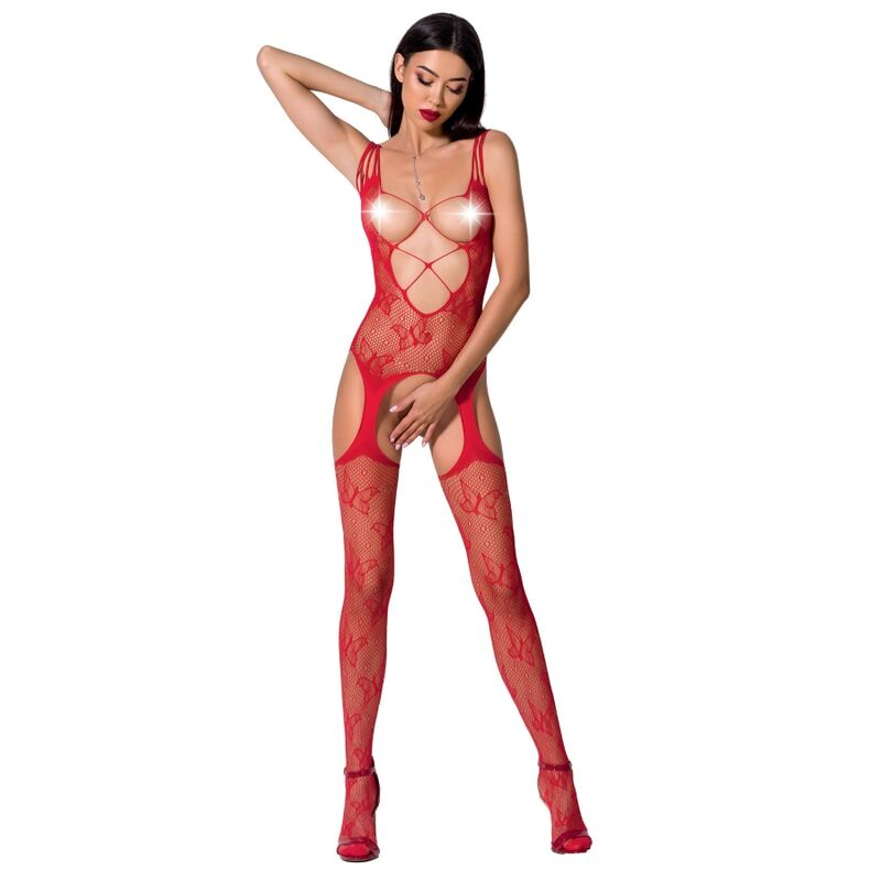 PASSION Woman BS075 Bodystocking Red OS