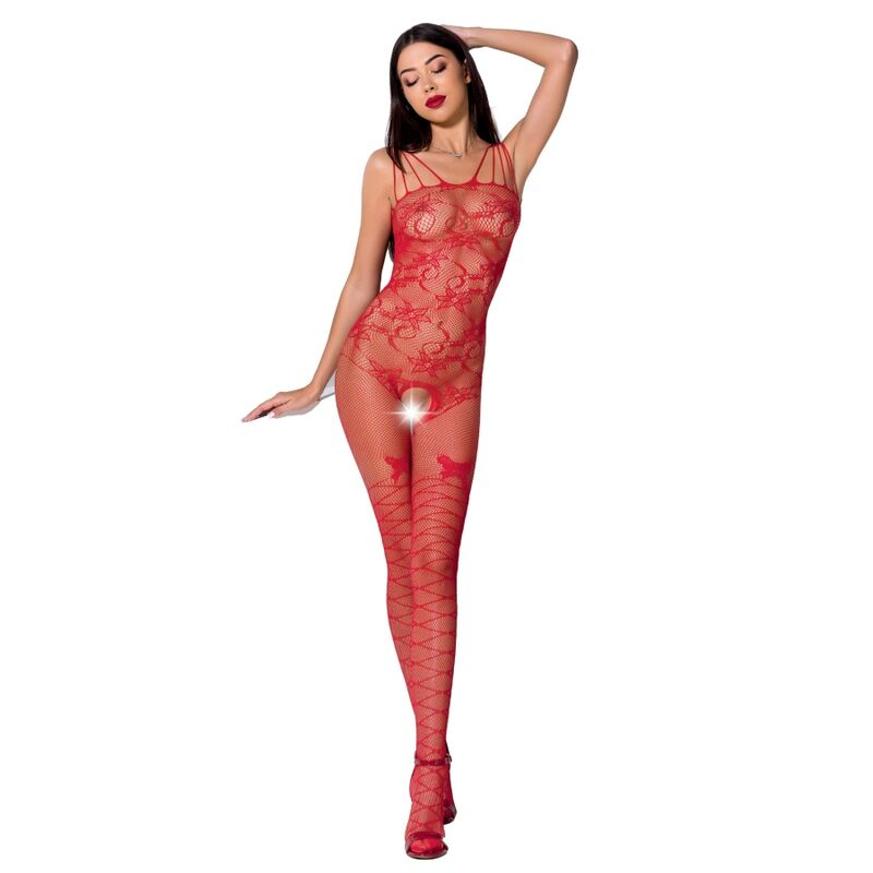 PASSION Woman BS076 Bodystocking Red OS