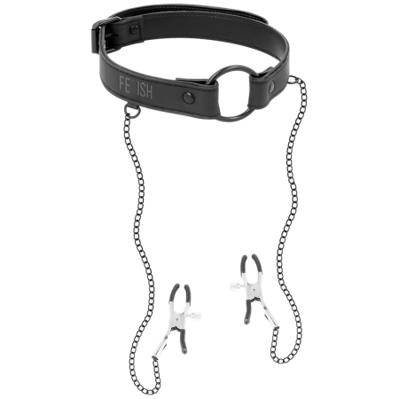 Fetish Submissive Ring Gag with Nipple Clamps
